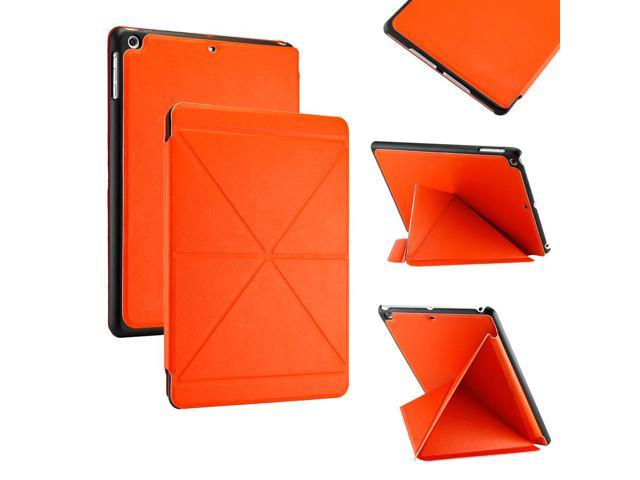 Gearonic ™ Slim PU Leather Smart Magnetic Shell Case Cover with Multi Folding Triangle Stand for Apple iPad Air 5th 5G- Orange - OEM