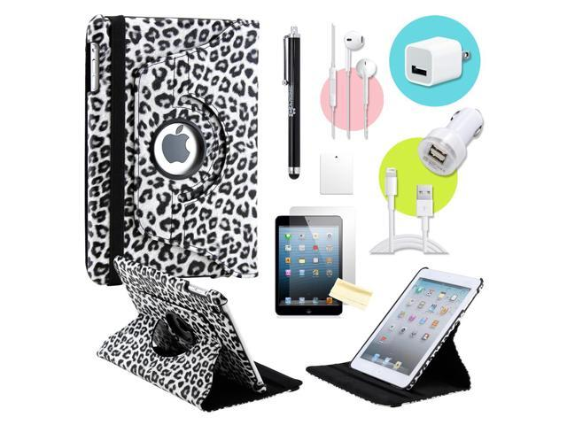 Gearonic ™ Black Leapard 360 Degree Rotating PU Leather Case Smart Cover Swivel Stand for iPad Mini/ Mini 2 Retina Display - OEM