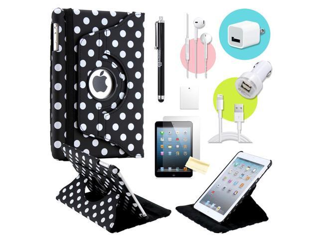 Gearonic ™ Black Polkadot 360 Degree Rotating PU Leather Case Smart Cover Swivel Stand for iPad Mini/ Mini 2 Retina Display - OEM