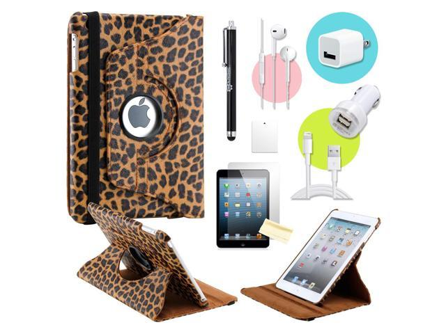 Gearonic ™ Brown Leopard 360 Degree Rotating PU Leather Case Smart Cover Swivel Stand for iPad Mini/ Mini 2 Retina Display - OEM