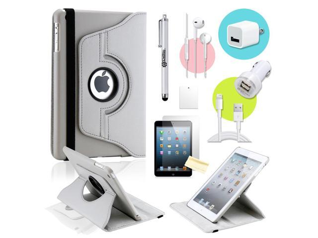 Gearonic ™ Gray 360 Degree Rotating PU Leather Case Smart Cover Swivel Stand for iPad Mini/ Mini 2 Retina Display - OEM