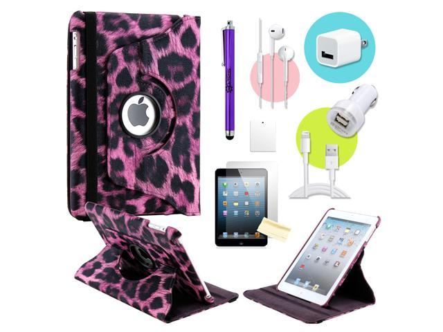 Gearonic ™ Purple Leopard 360 Degree Rotating PU Leather Case Smart Cover Swivel Stand for iPad Mini/ Mini 2 Retina Display - OEM