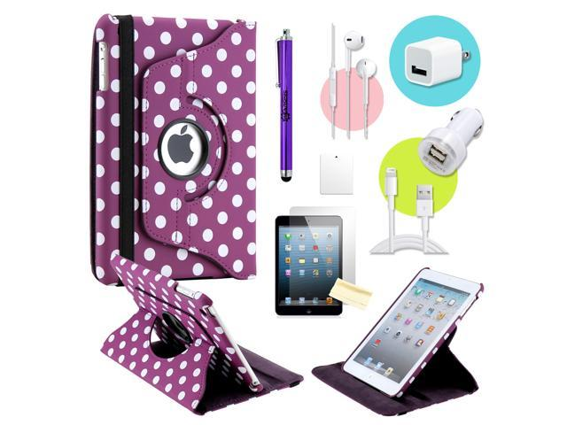 Gearonic ™ Purple PolkaDot 360 Degree Rotating PU Leather Case Smart Cover Swivel Stand for iPad Mini/ Mini 2 Retina Display - OEM