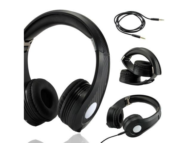 Gearonic ™ Carbon Fiber Print Adjustable Circumaural Over-Ear Earphone Stero Headphone 3.5mm for iPod MP3 MP4 PC iPhone Music - Black