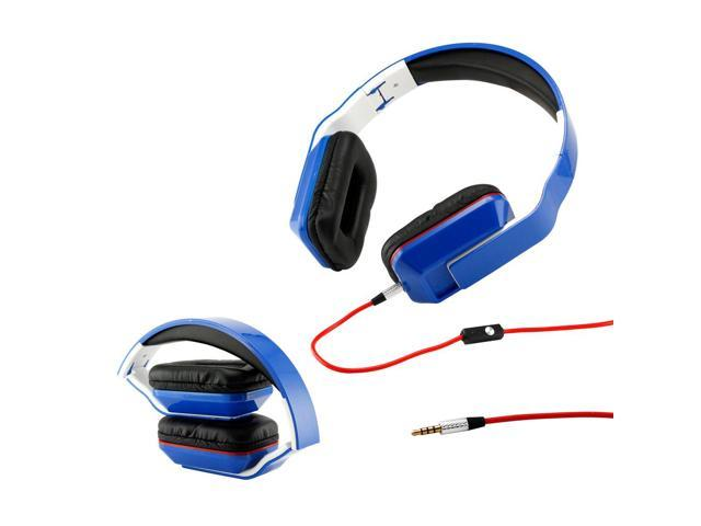 Gearonic ™ Adjustable Foldable Rectangular Over-Ear Earphone Headphones for iPod iPad iPhone Android MP3 MP4 PC Music - Blue