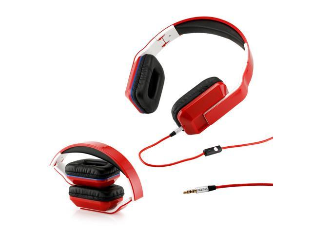 Gearonic ™ Adjustable Foldable Rectangular Over-Ear Earphone Headphones for iPod iPad iPhone Android MP3 MP4 PC Music - Red