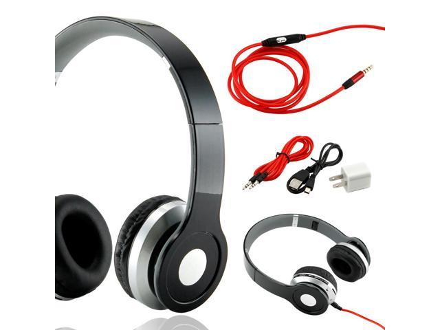 GEARONIC TM Wireless Adjustable Over-Ear Stereo Bluetooth Headphones with Volume, Track Controls and Microphone Cable for iPhone iPod MP3 MP4 PC Mobile - Black
