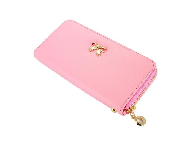 New Fashion Lady  Bow-Tie Zipper Around Women Clutch Leather Long Wallet Card Holder Case Purse Handbag Bag - Pink