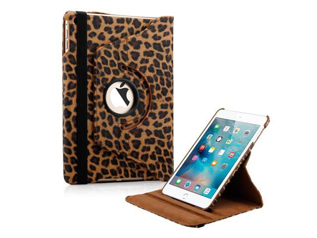GEARONIC TM 360 Degree Rotating PU Leather Case with smart sleep wake Function Cover Swivel Stand  for Apple iPad Mini 4 - Brown Leopard