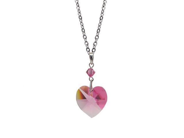Swarovski Pink Heart Pendant Necklace Fashion Jewelry