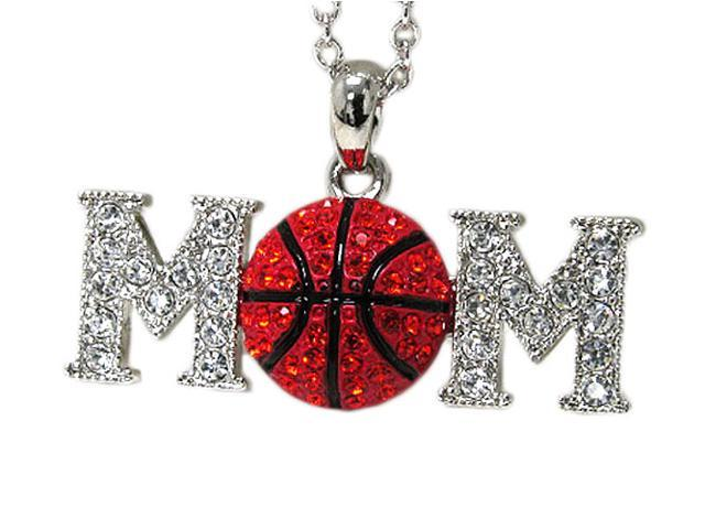 White Gold Crystal Red Basketball Mom Pendant Necklace Fashion Jewelry