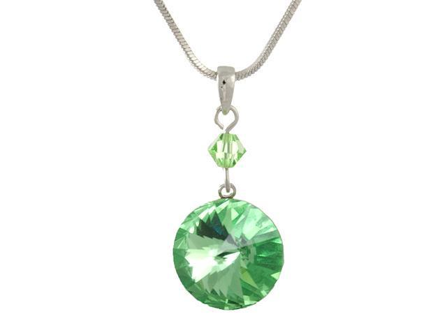 Swarovski Crystal Peridot Green 12mm Round Pendant Necklace -- Made In USA
