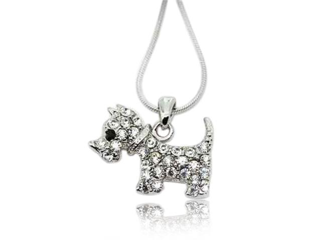 Crystal Puppy Pendant Necklace Fashion Jewelry