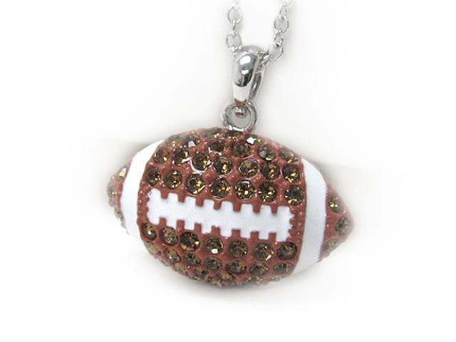White Gold Plated Crystal Football Pendant Necklace