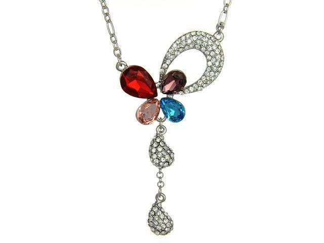 Multi Color Crystal Open Butterfly Dangle Pendant Necklace