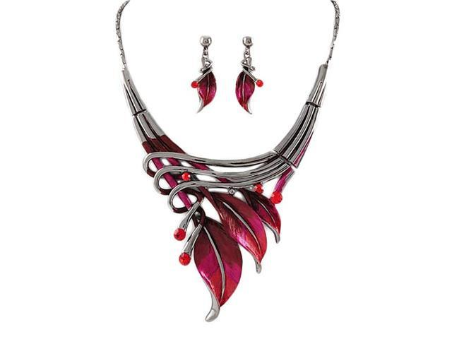 Hand Painted Red Leaf Necklace and Earrings Set Fashion Jewelry