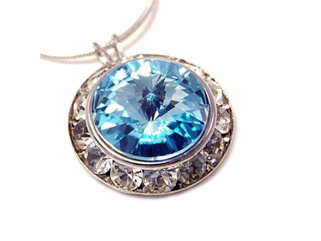 Crystal Framed Blue Swarovski Pendant Necklace Fashion Jewelry