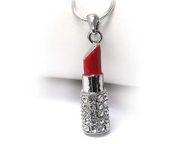 White Gold Plated Crystal Red Lipstick Pendant Necklace Fashion Jewelry