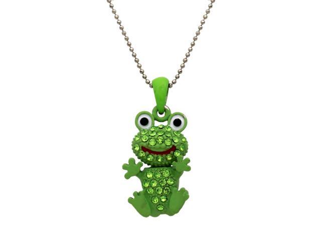 Green Crystal Frog Pendant Necklace Fashion Jewelry