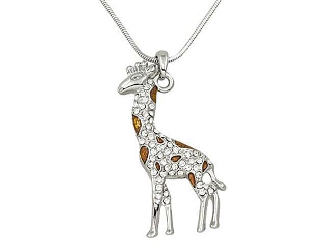 Silvertone and Brown Rhinestone Giraffe Charm Pendant Necklace Fashion Jewelry