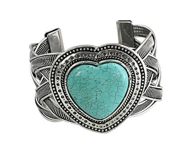 Silvertone Casting Imitation Turquoise Stone Heart Cuff Fashion Bracelet
