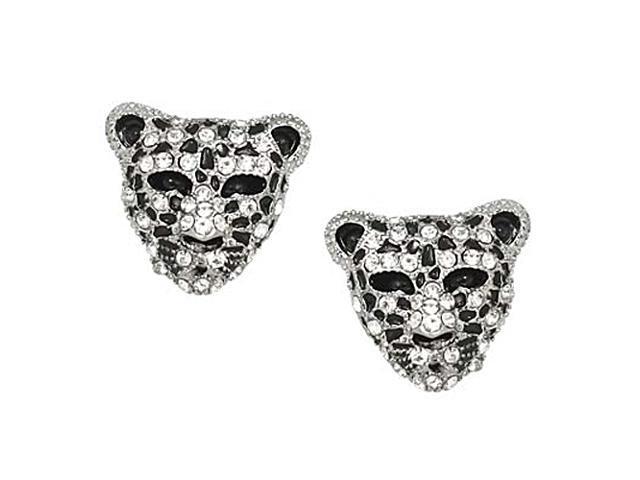 Silvertone Leopard Rhinestone Post Earrings Fashion Jewelry