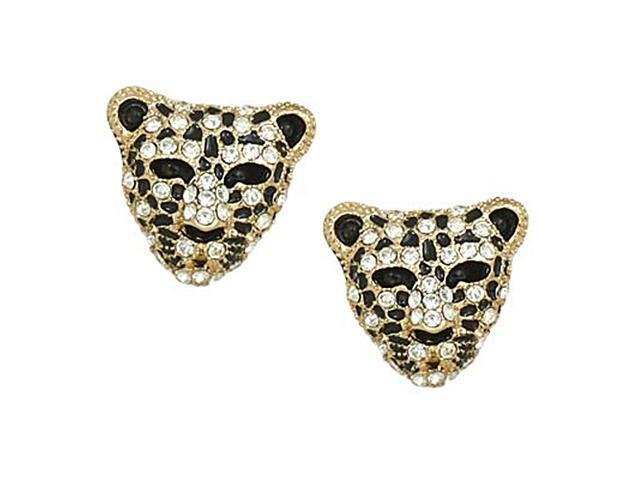 Goldtone Leopard Rhinestone Post Earrings Fashion Jewelry