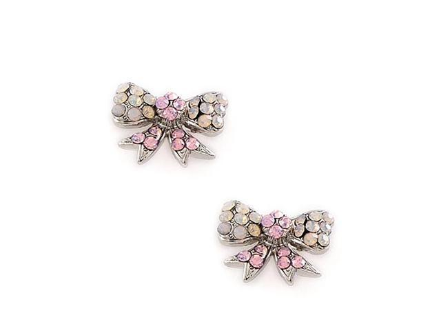 Silvertone Pink and Clear Rhinestone Bow Tie Post Earrings Fashion Jewelry