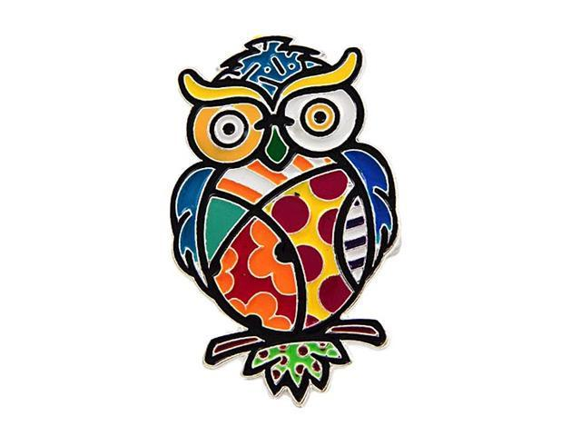 Silvertone Colorful Flat Owl Stretch Ring Fashion Jewelry