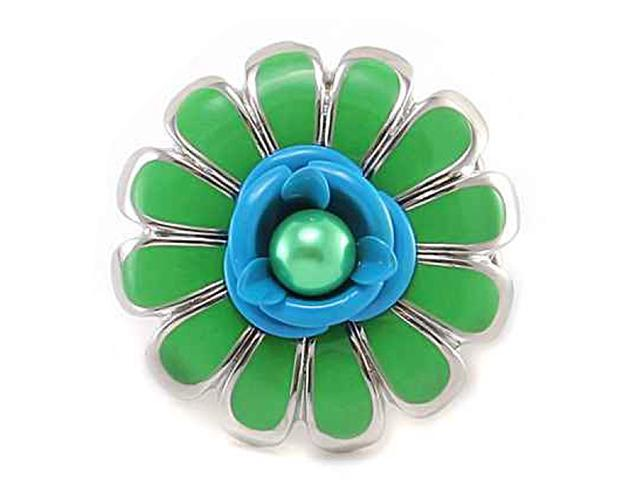 Silvertone Neon Green Flower Stretch Ring Fashion Jewelry