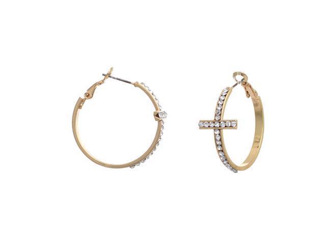 """Goldtone Crystal Sideways Cross Hoop Earrings, 1.25"""""""