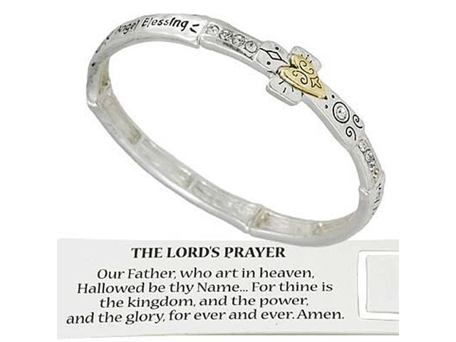 Two Tone Lords Prayer and Cross Stretch Bracelet  -- Includes Bookmark