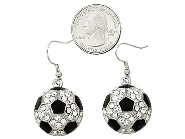 Silvertone Clear Crystal Soccer Ball Dangle Earrings