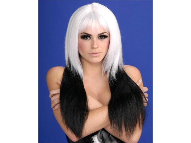 Dipped In Darkness White and Black Wig Adult