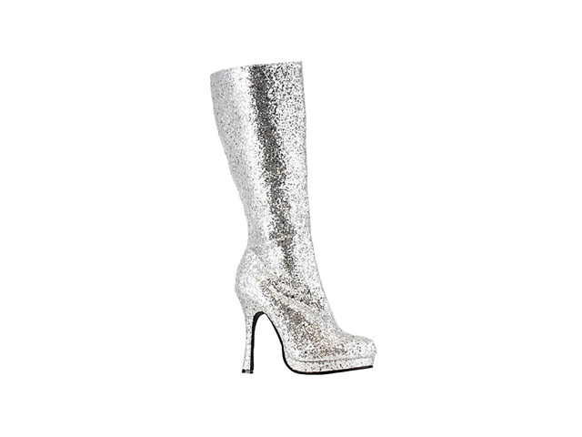 Adult knee high silver glitter boot by Ellie Shoes 421-ZARA