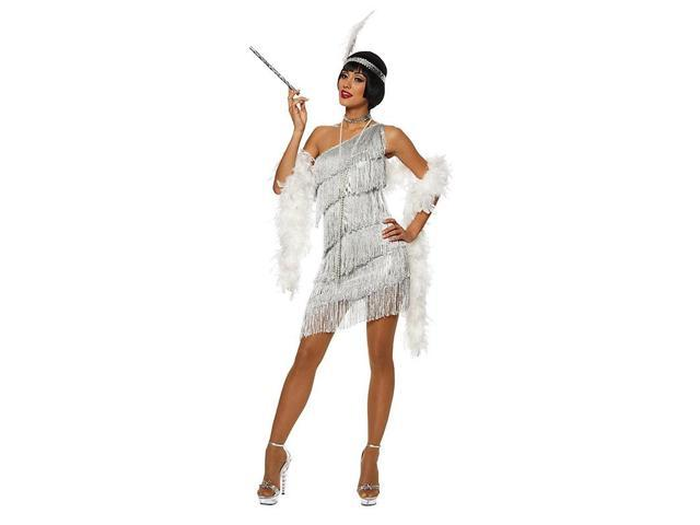 Dazzling Silver Flapper Women's Sexy Costume
