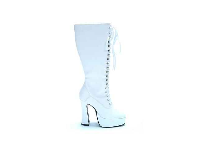 Patent Leather White Lace Boots