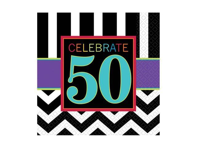 Chevron mix 50th birthday luncheon napkins 16 pack for 50th birthday decoration packs