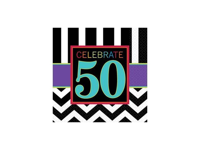 Chevron mix 50th birthday beverage napkins 16 pack for 50th birthday decoration packs