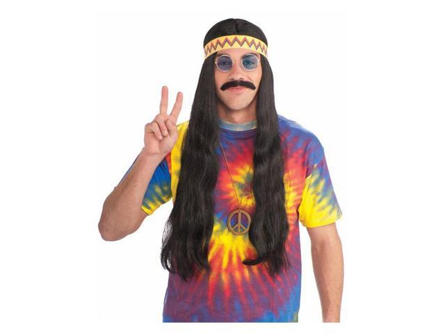 Unisex Hippy Black Wig with Detachable Headband for Adults