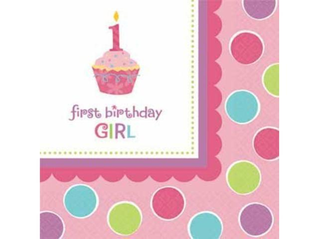 Cupcake 1st birthday girl beverage napkins 36 pack for 1st birthday party decoration packs