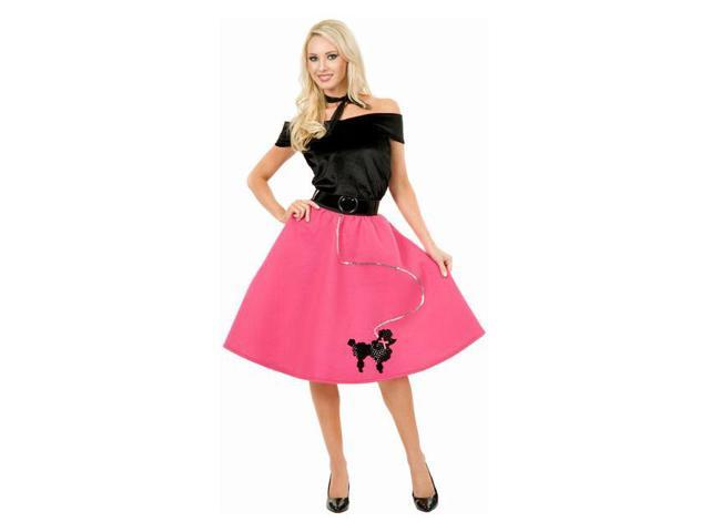 Womens Black And Fuchsia Poodle Skirt And Top Costume