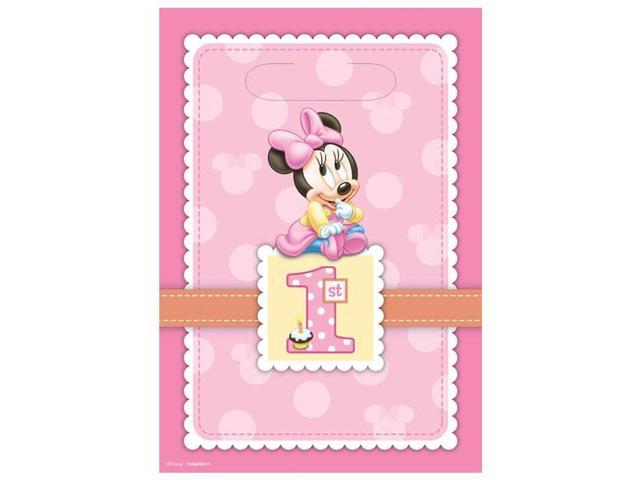 Minnie mouse 1st birthday loot bags 8 pack party for 1st birthday party decoration packs