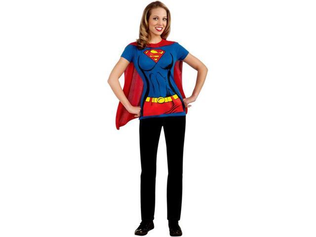 Women's Supergirl T-Shirt w/ Cape Adult Costume