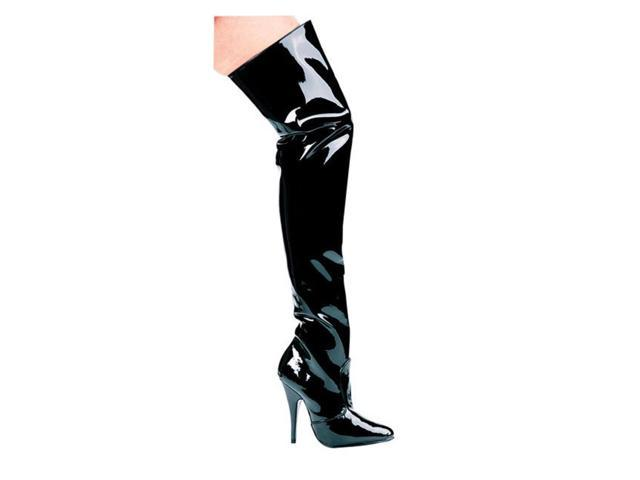 Black Patent Leather Thigh High Boots
