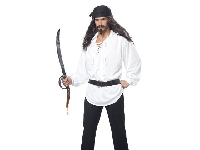 Black Pirate Wig with Moustache and Chin Patch Adult