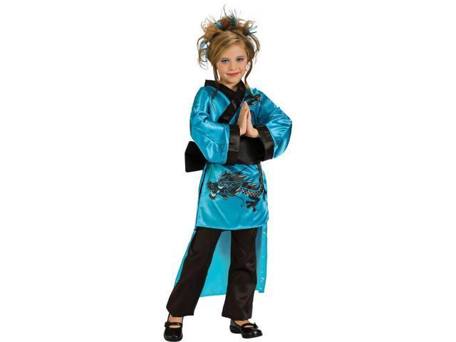 Girl's Teal Dragon Kimono Costume