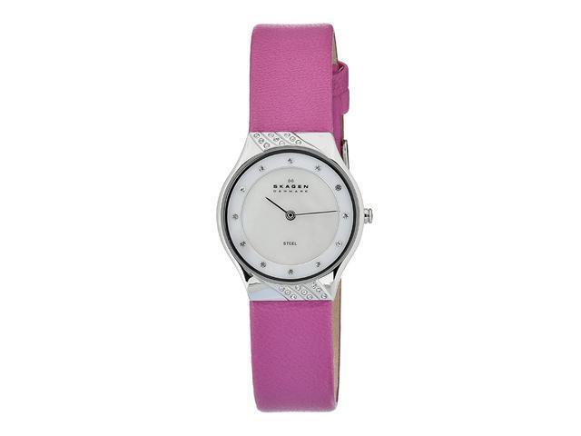 Skagen Mother of Pearl Dial Pink Leather Ladies Watch 635SSLP
