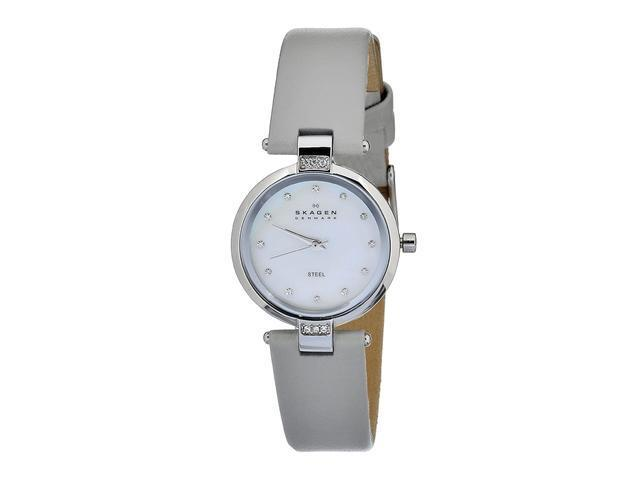 Skagen Mother of Pearl Dial Stainless Steel Grey Leather Ladies Watch 109SSLML