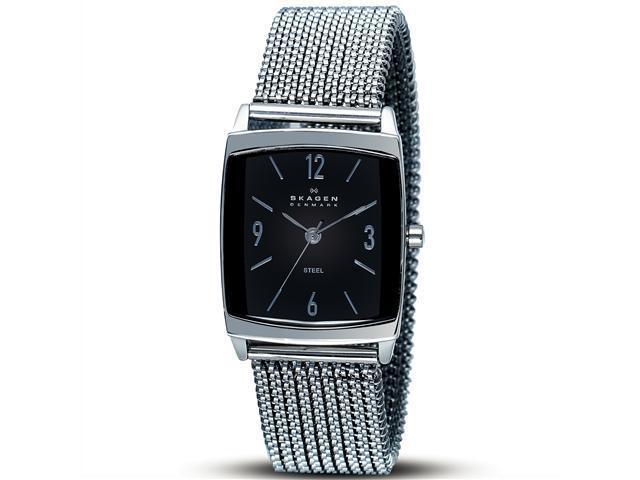 Skagen Stretch Black Dial Stainless Steel Ladies Watch 691SSSB1